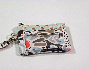 Zippered Wristlet, ID Pocket Wristlet, Brown, Aqua and Orange Wristlet, Floral Wristlet