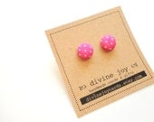 Bright Pink Polka Dot Button Earrings, Fabric Post Earrings