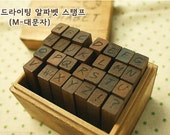 SALE!!!!!!! 1 set of 28 pcs Korea antique hand writing alphabet wooden stamp set in box - uppercase (handwriting)