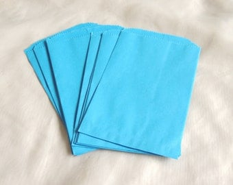 25 Blue 5x7 inch Paper Bags, Sky Blue Paper Party Bags, Colored Paper Merchandise Bags, Gift Bags, Wedding Bags, Bridal Bags, Craft Bags