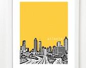 Atlanta Skyline Poster- City Art Print - Atlanta Georgia - 8x10 image - VERSION 1