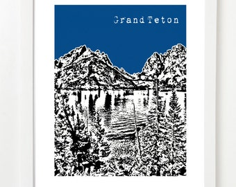 Grand Teton National Park  - Grand Tetons Art Print - Grand Teton Wyoming City Poster - Wedding Gift