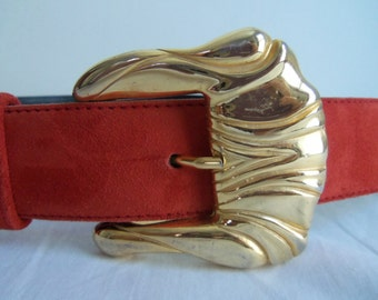 Vintage 80s Escada Red Suede Belt with Flowers
