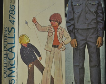 Boys' Unlined Jacket and Pants Size 6 Uncut Vintage 1970s Sewing Pattern McCall's 4785