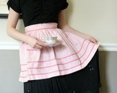 Vintage- Cute Pink Gingham Cotton Apron with Pocket