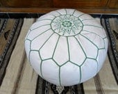 Moroccan LEATHER POUF :hand stitched / embroidered  W gr