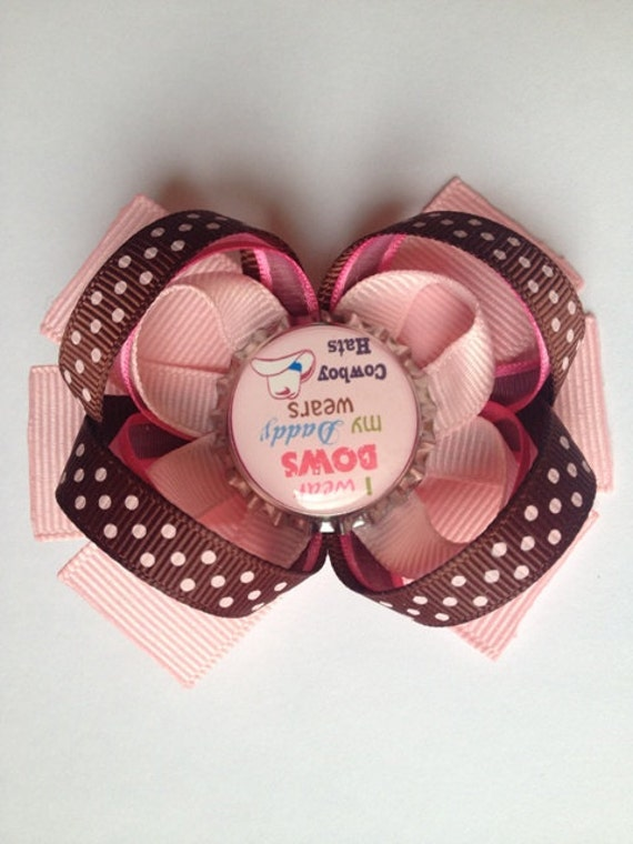 Cow Girl Hair Bow Bottle Cap Pink Ribbon Stacked Boutique Cute Sayings ...