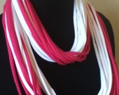 Free US Shipping: Pink & White Jersey Knit Infinity Scarf