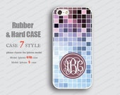 Monogram purple blue  patch  Iphone case Rubber Iphone 4 case Iphone 5 case hard Case iphone 5 case iphone 4 iPhone 4s Case