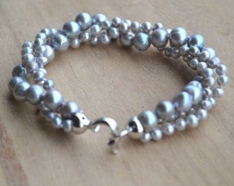pearl bracelet-3 rows 8 inches 5-8mm gray pearl bracelet,natural freshwater pearl bracelet  ,wedding bracelet