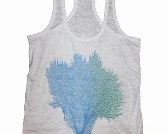 Women's Coral Sea Fan Shirt Grey Blue Green Gorgonian