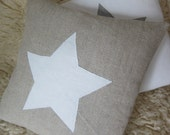 Natural Linen Pillow Cover 14x14 Eco Friendly Cushion Case w White Appliqued Star by Sedula - Sedula