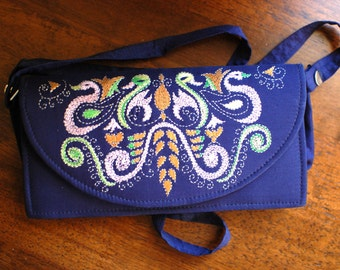 Royal Blue embroidered vintage Kantha clutch - Clearance