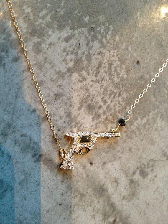 Rhinestone Handgun necklace
