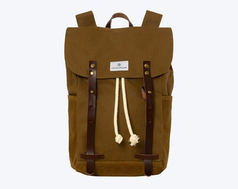 "No. 2 - Canvas and Waxed Backpack, Canvas Backpack, Brown Waxed Canvas Backpack, 13"" or 15"" Laptop Backpack, Waxed Canvas Laptop Backpack"
