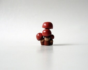 Ceramic Miniature, Group of Four Red Mushrooms, Miniature Sculpture by Eyal Binyamini, Studio Lind