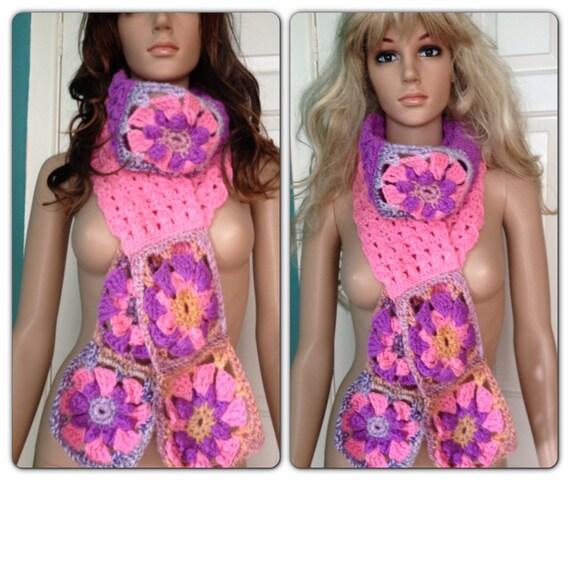 SALE Was 25.99 Now 15.99Ooak Unique womens designer hand crocheted/knit pink,purple scarf,lariat,scarflette