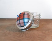 Mason Jar Pincushion Lid -Plaid Pincushion - Orange and Blue -  - REGULAR MOUTH