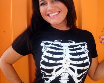 Rib Cage Skeleton T-Shirt Horror Punk Rock Goth Emo Science Geekery Costume Tee Shirt Tshirt Mens Womens S-3XL Great Gift Idea