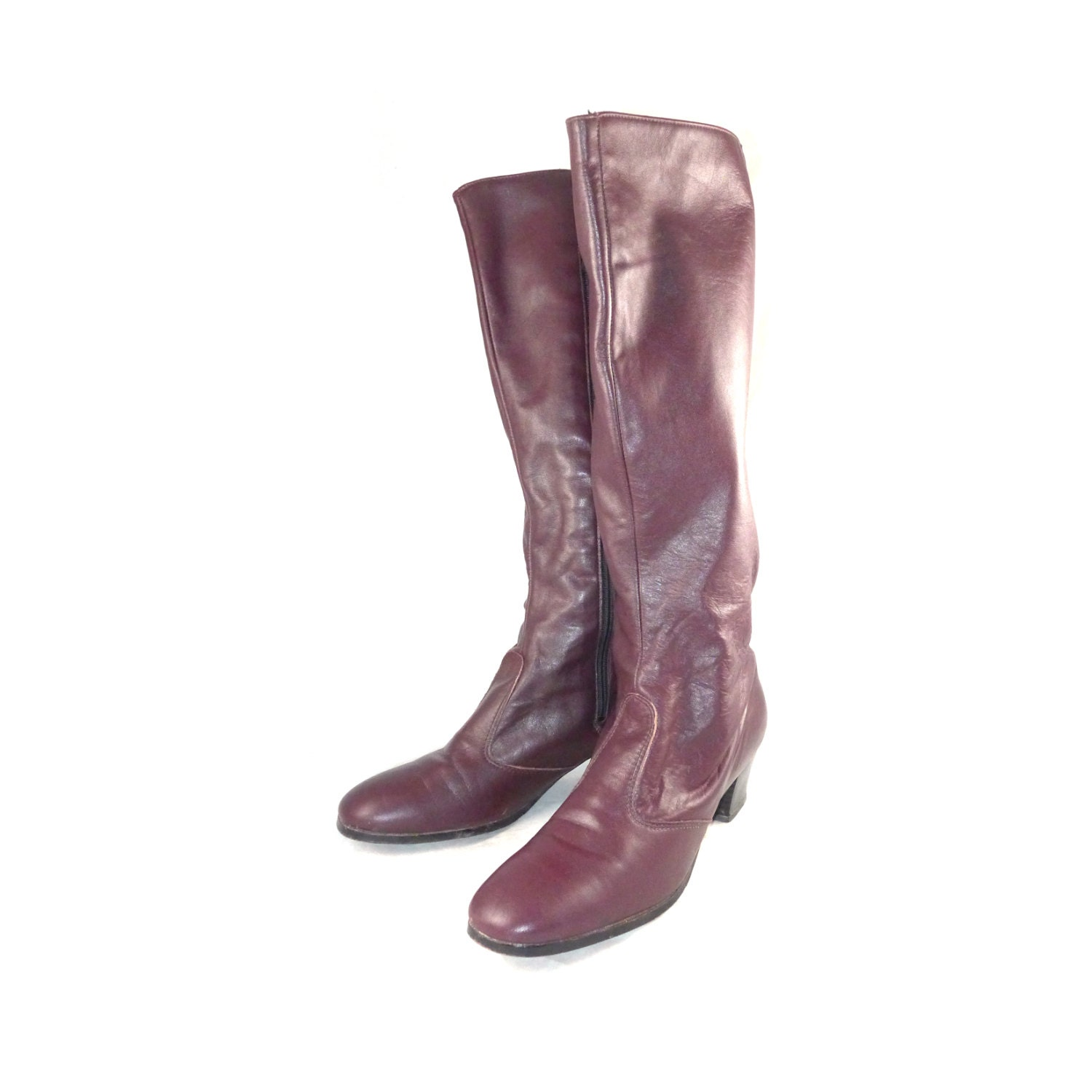 burgundy leather soft knee high boots by curatedcloset