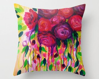 ROSES ARE RAD Decorative Floral Art Throw Pillow Cover 16x16 18x18 20x20 Flowers Gift for Mom Polyester Abstract Fine Art Painting Cushion