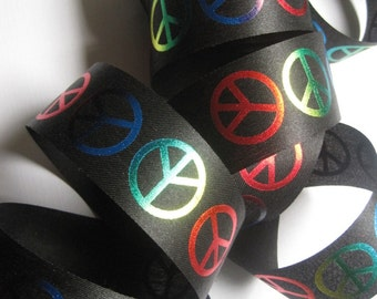 "Peace Sign Ribbon, Multi / Black, 1 3/8"" inch wide, 1 yard, For Mixed Media, Gifts, Scrapbook, Home Decor, Accessories"