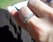 10k White Gold Past Present Future Diamond .34 ct  Engagement Ring
