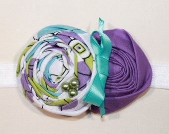 Purple, White and Aqua Baby Flower Headband, Newborn Headband, Baby Girl Flower Headband, Photography Prop