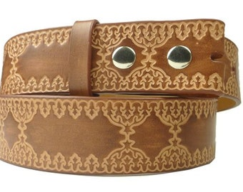 Tan Brown Leather Belt Strap Embossed, Tooled Leather Men Women Snap Belt Strap For Belt Buckle, Size Small