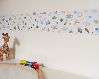kid self adhesive wallpaper border  : The space - kids wall art - wallpaper for walls - self adhesive wallpaper