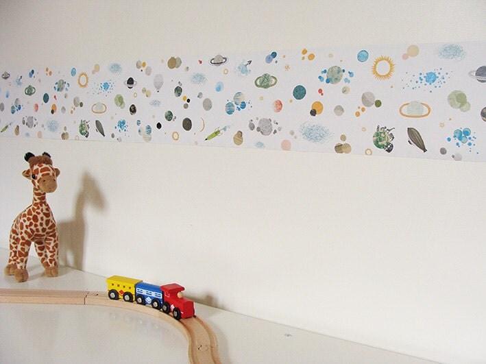 🔎zoom - Kid Self Adhesive Wallpaper Border : The Space Kids Wall