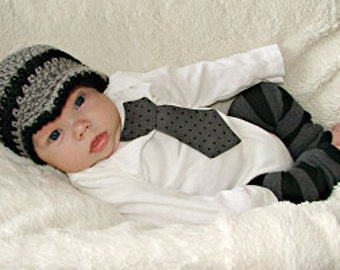 Baby boy tie one piece bodysuit and crochet hat set, gray and black, polka dots, photo prop, baby shower gift, newborn boy outfit