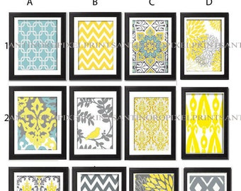 Digital Print Wall Art Yellow Turquoise Grey Vintage / Modern inspired Wall Art -Set of (6) - 11x14 Prints -   (UNFRAMED)