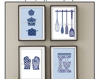 Damask Kitchen Tools Navy Blue White Art Collection  -Set of (4) - 4x6 Prints (Unframed)