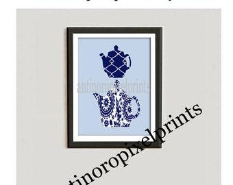 FREE SHIPPING Navy Damask Mixer Teapot Art Print Vintage Modern Inspired Art Print  - Navy White 8x11 Print (Unframed)