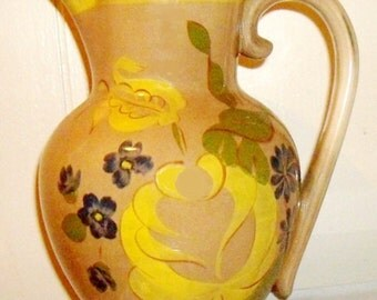 Red Wing Pottery Pitcher, rustic farmhouse stoneware jug, flower vase, mid century decor