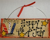 4th of July Wood Sign Handpainted Firecrackers