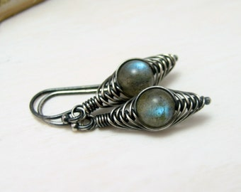 Labradorite Earrings, Oxidized Sterling Silver Herringbone Wire Wrapped Blue Flash Labradorite Dangle Earrings
