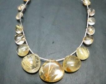 15 Pieces Top Quality Golden Rutilated Quatz Hart Shape Size 16X17 mm 14X14 mm 7X7 mm Approx