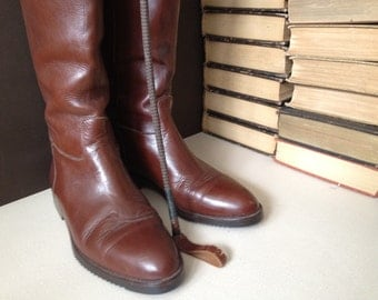 Joan and David Riding Boots Italian Leather Chestnut Brown Handmade in Italy Size 37,5 EU 6.5  7 US
