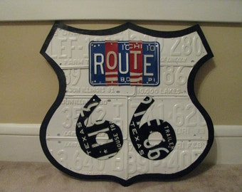 ROUTE 66 SIGN made from real vintage license plates - license plate art- one of a kind