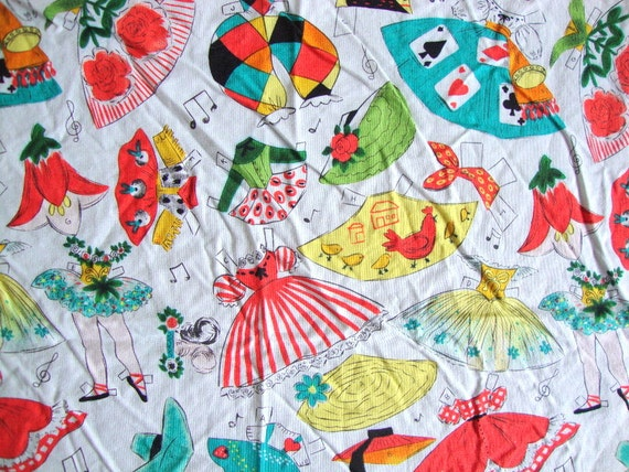 Retro paper doll fabric kids at play ii hancock by for Retro kids fabric