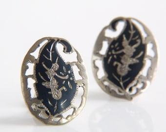 Vintage Siam Sterling Silver Leaf Earrings