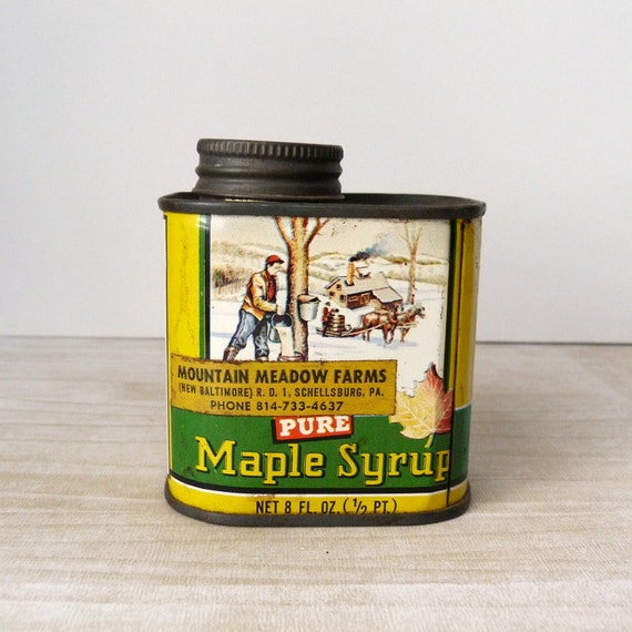 Vintage Pure Maple Syrup Half Pint Tin