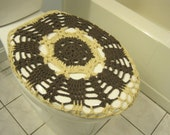 Crochet Toilet Seat Cover or Toilet Tank Lid Cover - taupe heather/oatmeal (TSC10B or TTL10B)