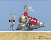 Kids Wall Decal, Train Fabric Wall Decal, Train Wall Art, Train Wall Stickers