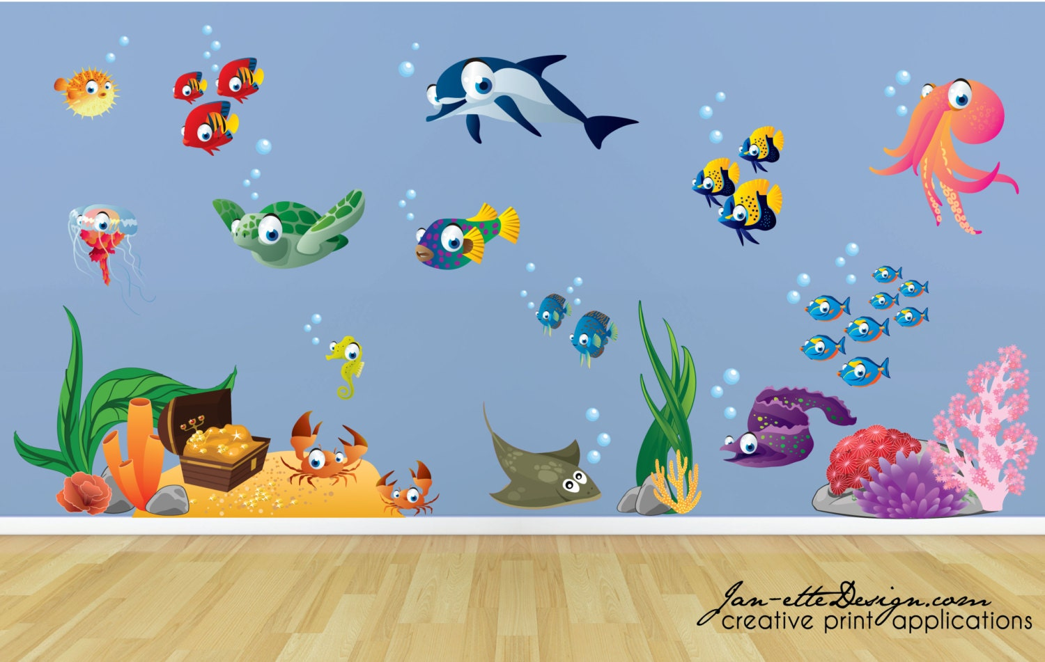 kids wall decalsfish and deep sea treasure fabric wall decal