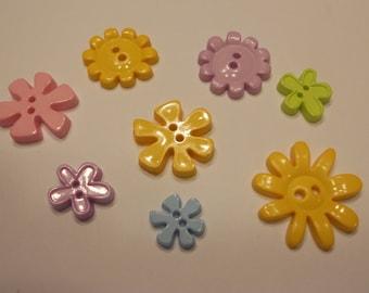 8 piece flower button mix, 13-28 mm, (13)