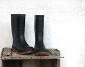 children's black galoshes / garden or rain boots - spring urban farmhouse style decor or display - tribute212