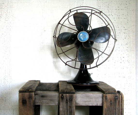 vintage black fan - emerson electric - modern farmhouse decor
